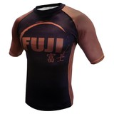 Fuji IBJJF Short Sleeve Ranked Rash Guard Brown